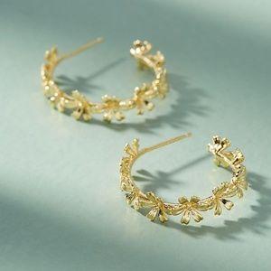 Chain of Flowers Hoop Earrings